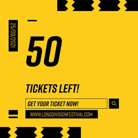 Hello! Down to the last 50 tickets for the Saturday of Long Division this year.....