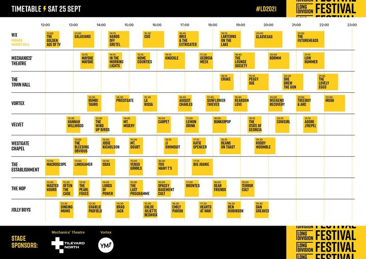 The Long Division timetable for Saturday 25th September! Got your route planned ...