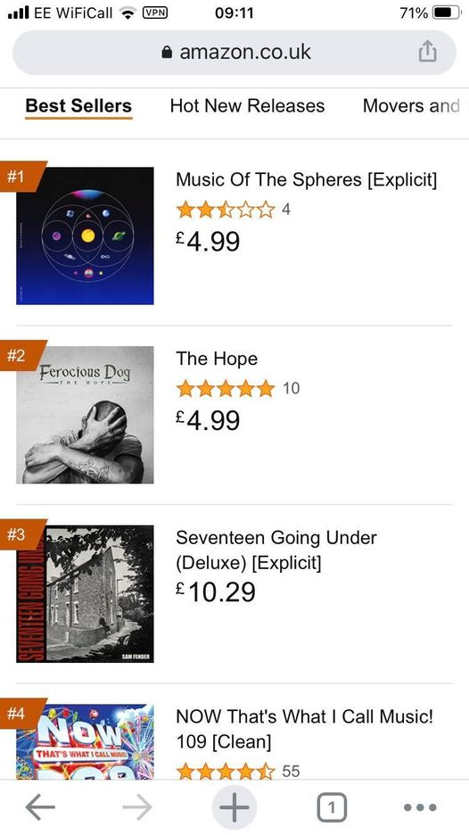 One more good week Ferocious Dog and you will knock Coldplay off #1...