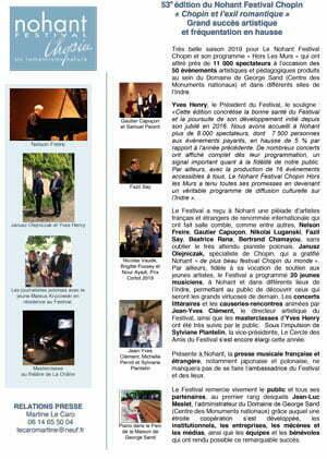 CP bilan 2019 NOHANT FESTIVAL CHOPIN