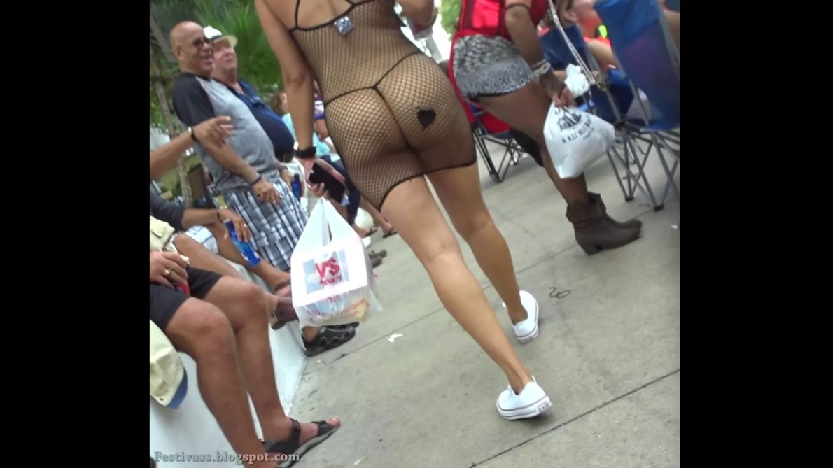 Epic In Fishnet Dress And G-String