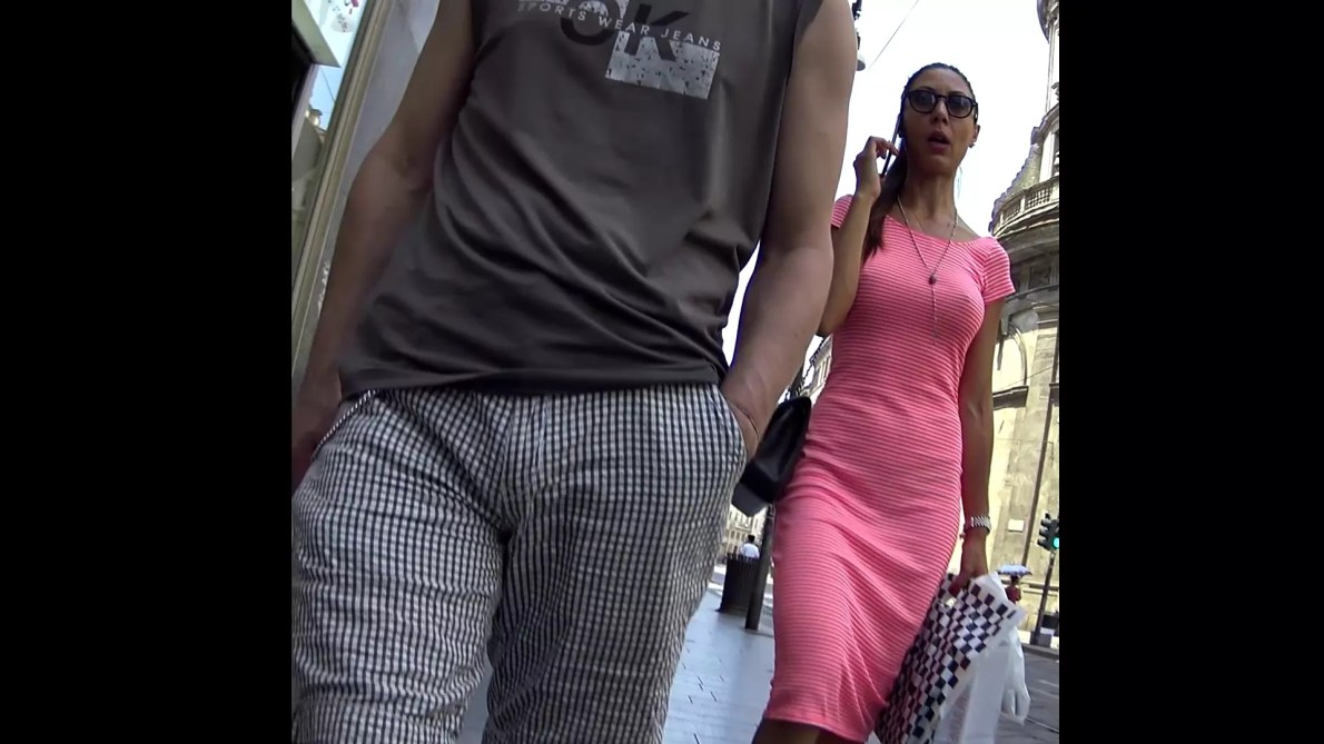 Sexy Italian Girl In Pink Dress - No Bra And Thong