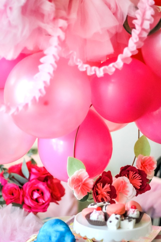 Pink Balloon Garland Centerpiece and Floral Hoop