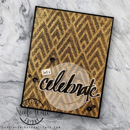 #FF0028, Festive Friday Challenge Designer- Nicole Watt, Mardi Gras, Glimmer Paper