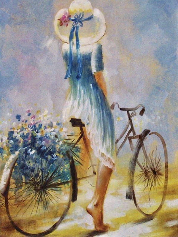 Nő biciklivel