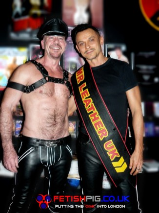 Greg Mitchell (L) DJ Brent Nicholls (R) trying the sash on for size
