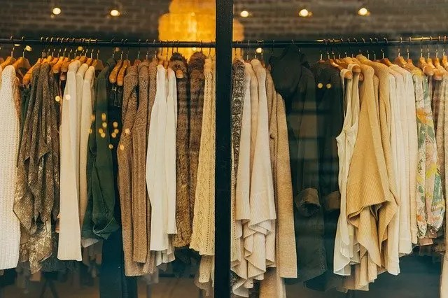Ethical clothing on a rack.