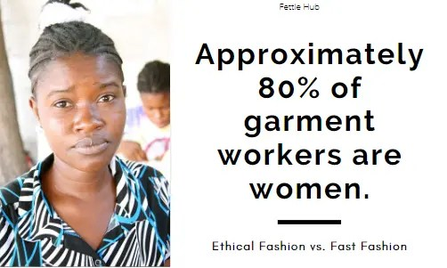 A graphic showing that approximately 80% of garment workers are women.