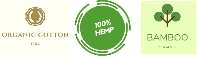 A graphic showing organic cotton, 1005 hemp, and organic bamboo.