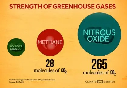 A graphic showing the strength of three greenhouse gases: carbon dioxide, methane, and nitrous oxide.
