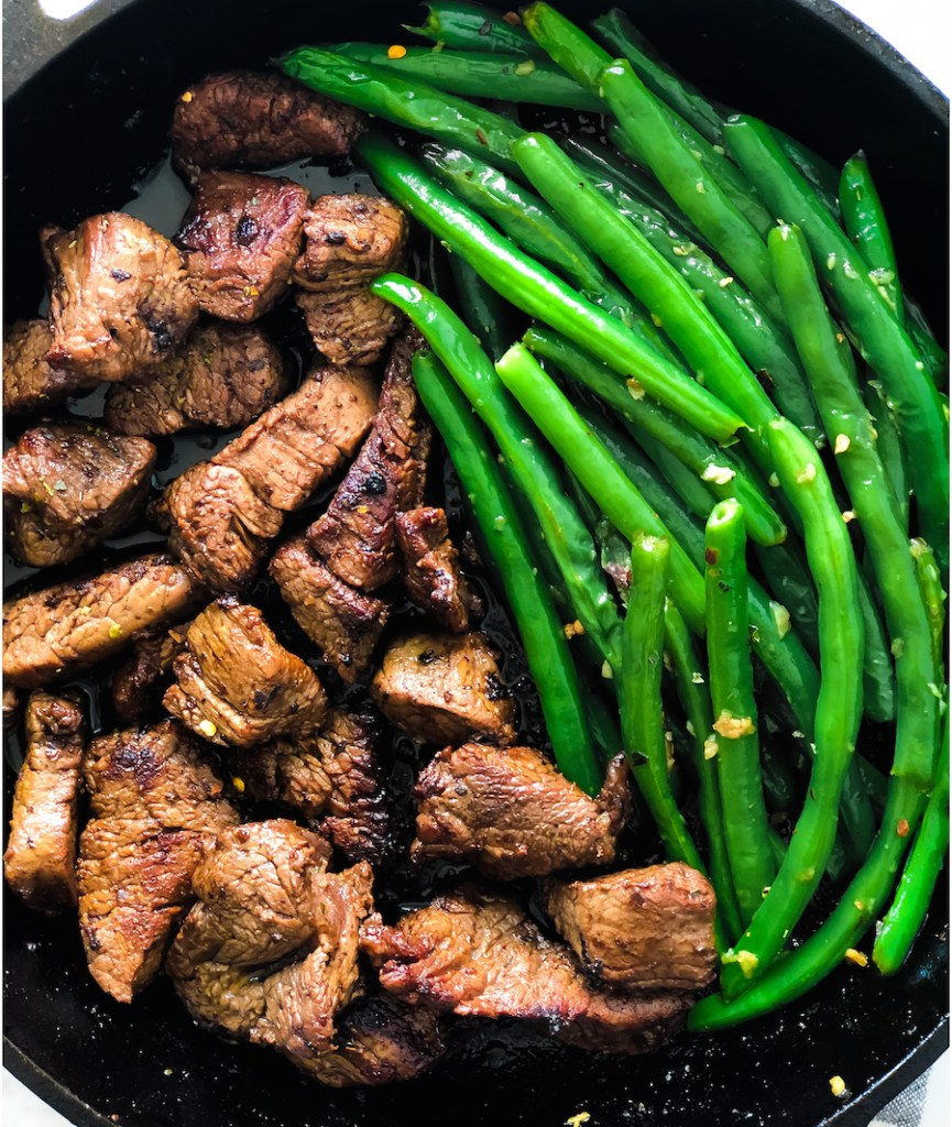 Garlic Butter Steak Bites With Green Beans