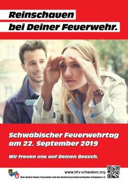 """Plakat des Aktionstages """"Reinschauen bei Deiner Feuerwehr"""" am 22. September 2019. Auch in Rieblingen!"""