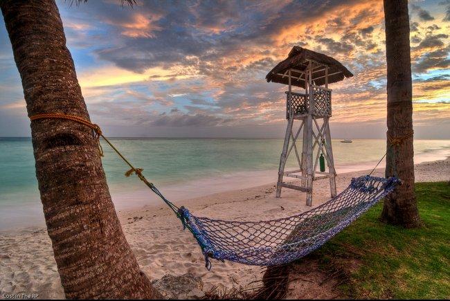 hammock on beach at sunset