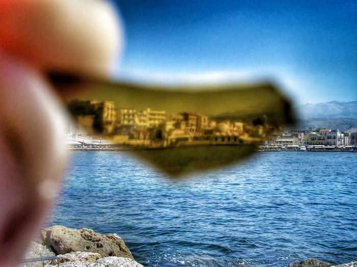 Chania, Crete, Greece, through a piece of glass