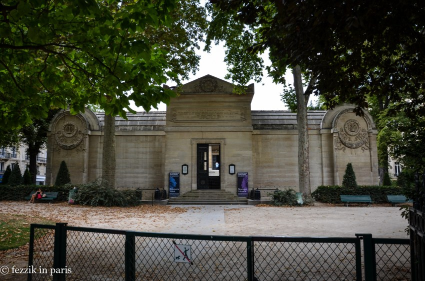 The front of the pavilion, as seen from the entrance to the park.