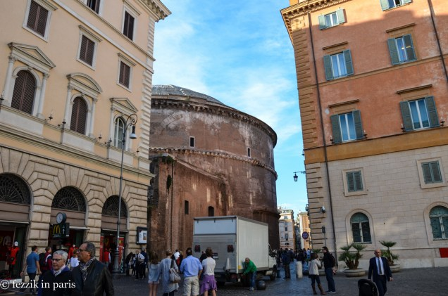The rear end of the Pantheon.