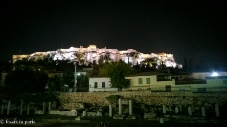 """The Acropolis, as seen from the rooftop bar of our hotel. We drank a bottle of """"monk made"""" (per our waiter) Greek wine and stared."""