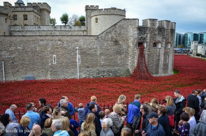 The Tower of London, with poppies (in commemoration of casualties suffered in the first world war).