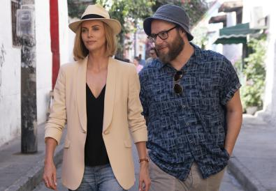 Charlotte Field (Charlize Theron) and Fred Flarsky (Seth Rogen) in Long Shot.
