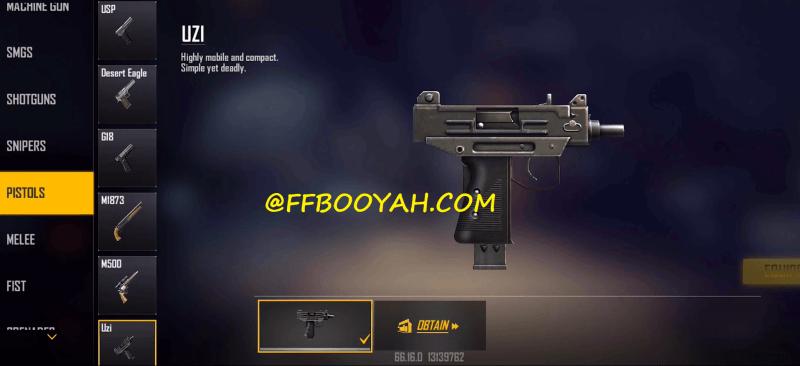 Free Fire UZI Pistol OB28 Update
