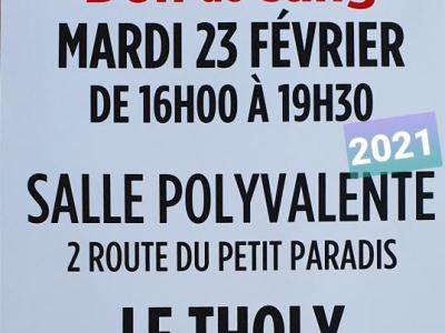 Vosges : Prochaine collecte de sang au Tholy le mardi 23 février 2021