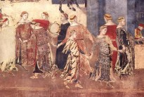 Detail from Allegory of Good Government by Ambrogio Lorenzetti, Palazzo Pubblico, Siena, 1338-40