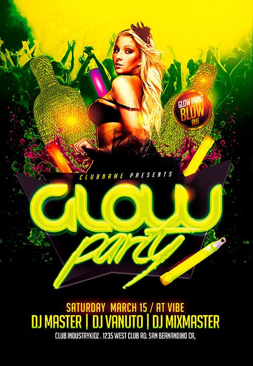 Flyer Template Glow Neon Party Flyer Template Download