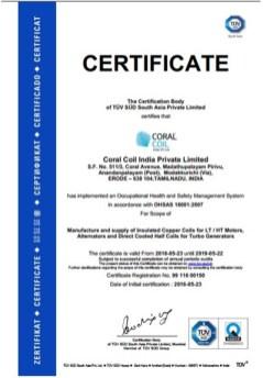 ISO 18001 Certificate Corel Coil