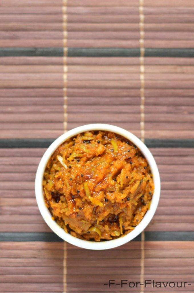 raw mango thokku in a bowl