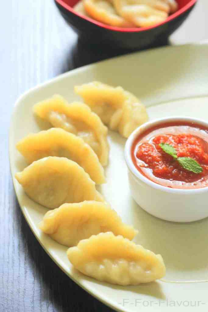 paneer momos with momos sauce