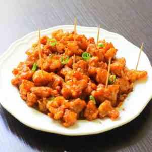 gobi manchurian dry in a plate