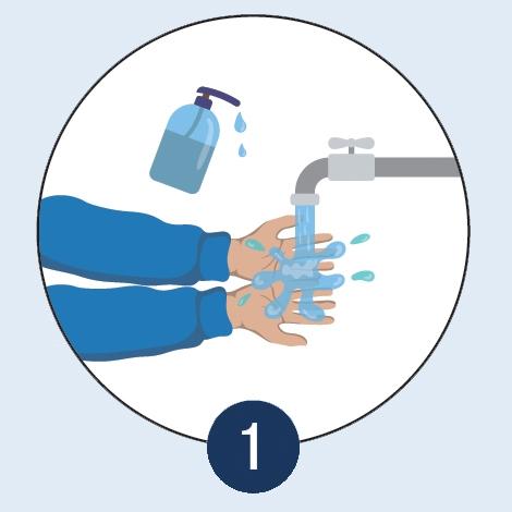 Hände waschen vor dem Maske aufsetzen