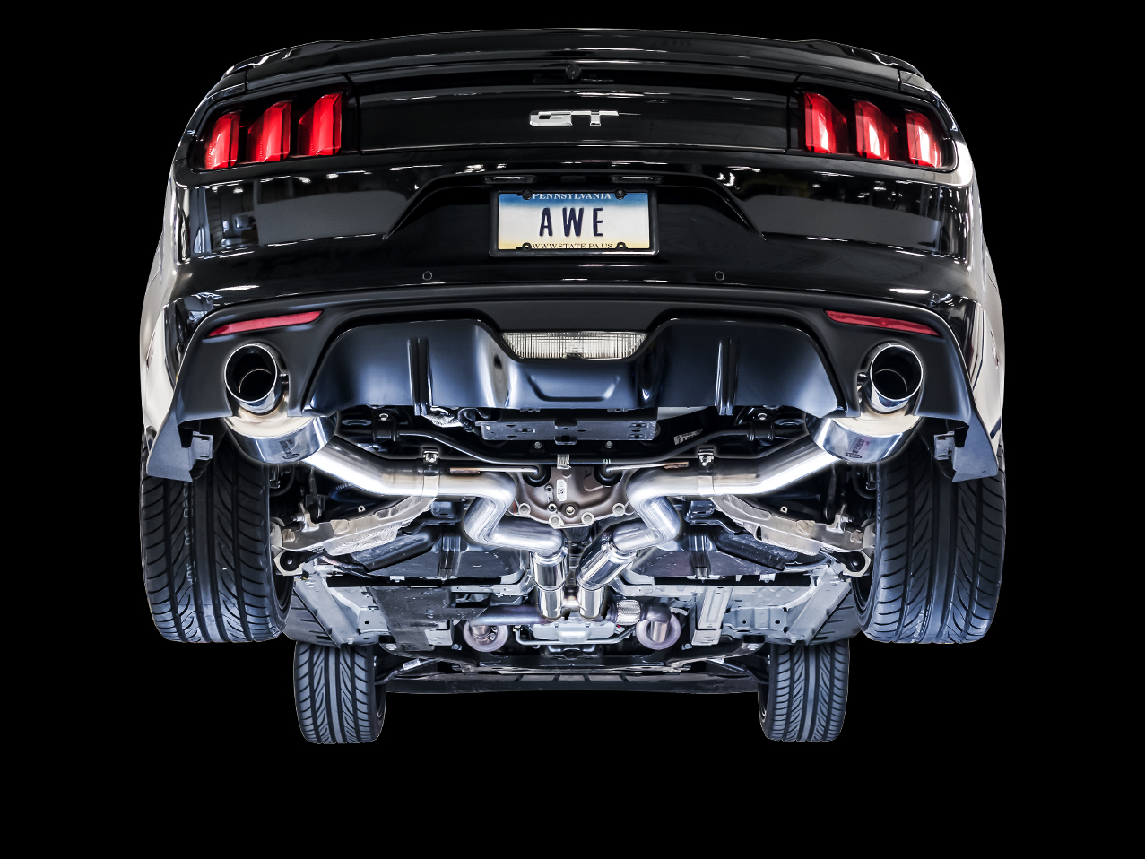 awe 2015 2017 ford mustang gt touring edition cat back exhaust dual tip