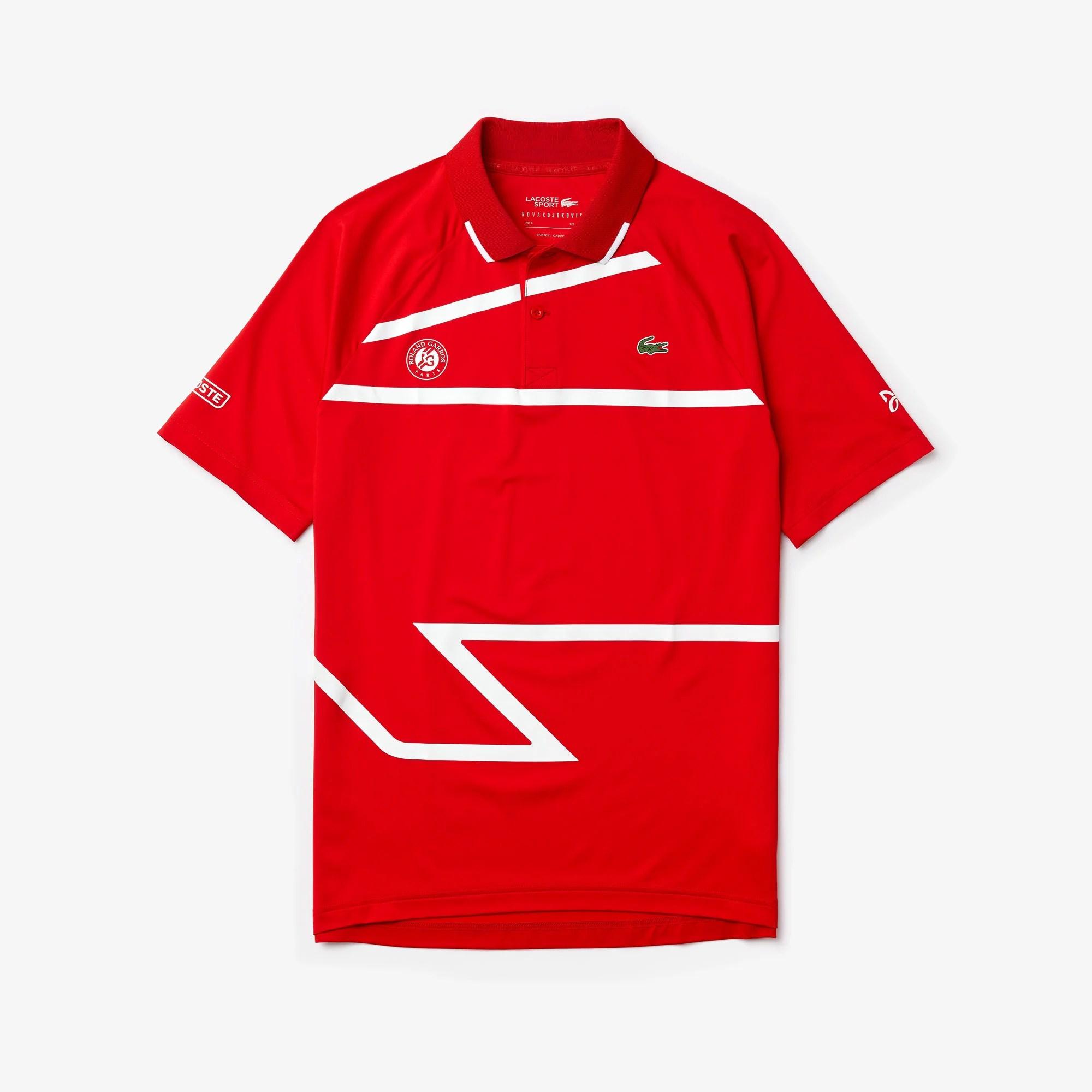 lacoste polo shirt x roland garros novak djokovic red