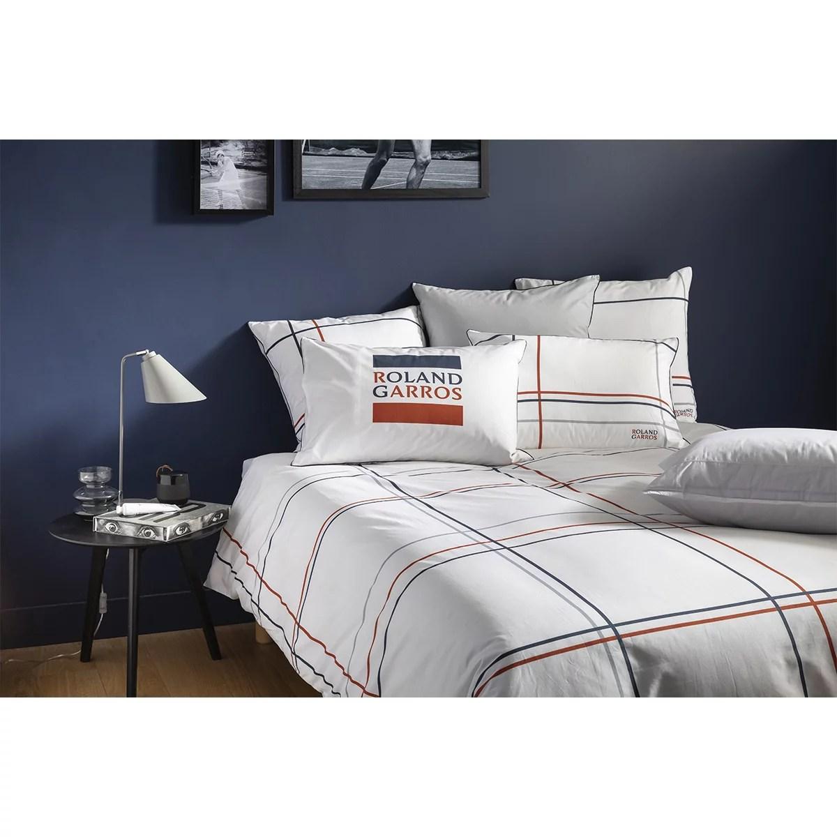 duvet cover chelem 240x220 in cotton percale carre blanc x roland garros mulitcolour