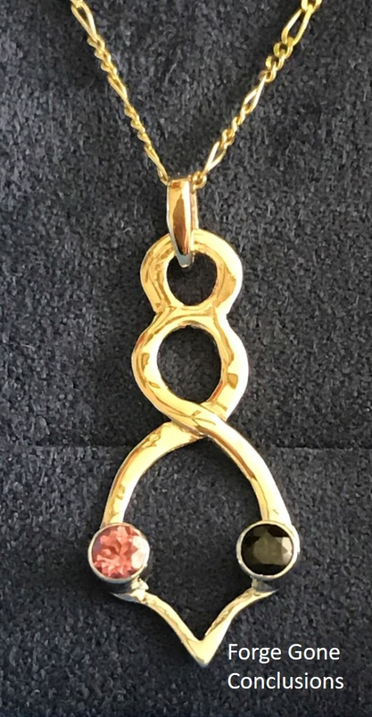 Double helix pendant necklace created with October birthstones