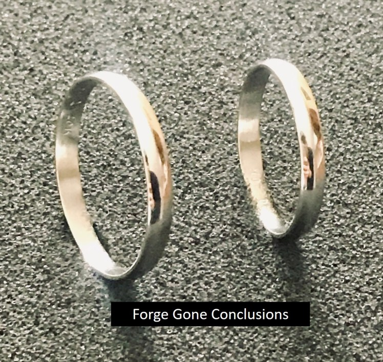 Picture shows two wedding rings. These are fully formed and show they are solid.