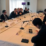 FGFJ Board Meeting with Global Fund Executive Director Michel Kazatchkine, Director Christoph Benn, and others.