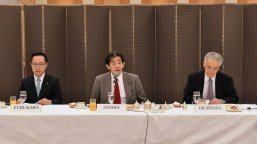 FGFJ Diet Task Force Co-chairs, Hon. Ichiro Aisawa (center) and Hon. Motohisa Furukawa (left), with Akio Okawara (right), president of JCIE/ Japan