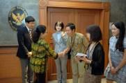 Nila Djuwita Farid Moeloek, Minister of Health of the Republic of Indonesia, greets journalists Thursday 29 November, 2018. (Jiro Ose / The Global Fund)