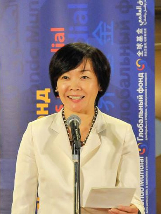 First Lady Akie Abe speaking at the opening reception