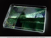 """mind bunker #21 (RNA horizon)_tray"" 2000, Translucent C-Print 43,5 x 31,5 cm, plexiglass tray, edition of 3 © Georg Mühleck"
