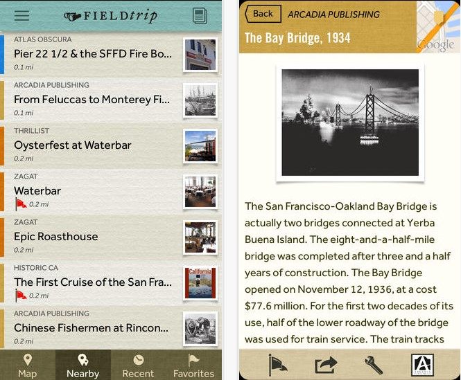 Field Trip helps you learn about the local history of the area you are in, as well as information about local stores