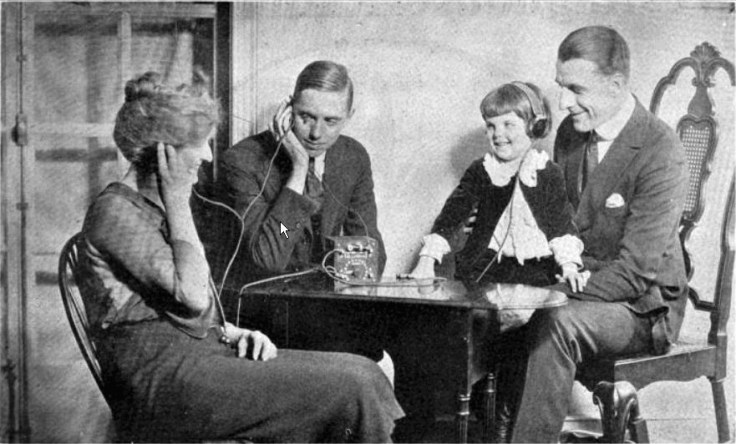 family listening to a radio in the 1920s