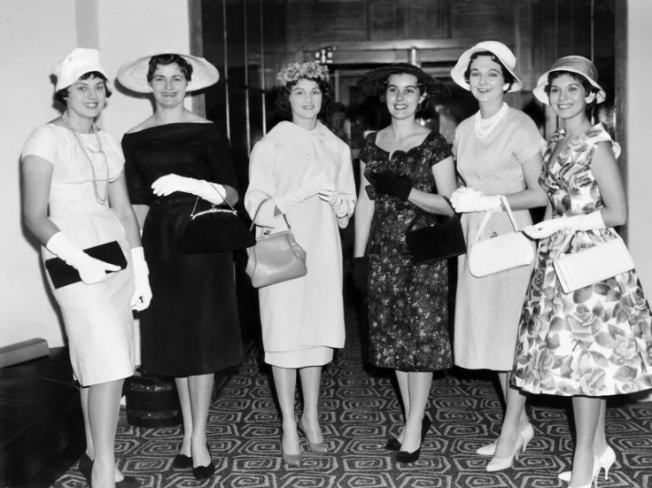 6 women wear 1950s fashion dresses