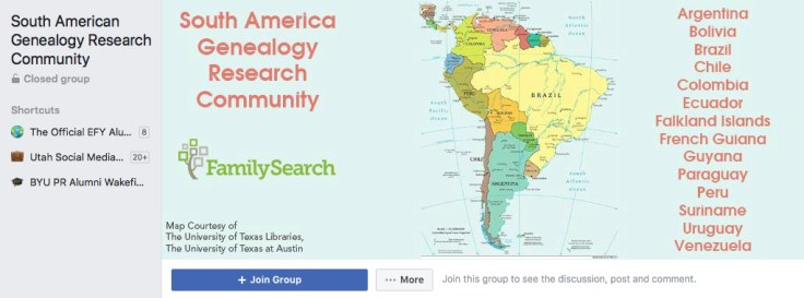 Screenshot of South America Genealogy Research Community on Facebook.