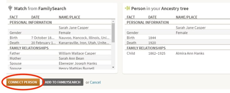 Connect people on Ancestry and FamilySearch using your free LDS account.