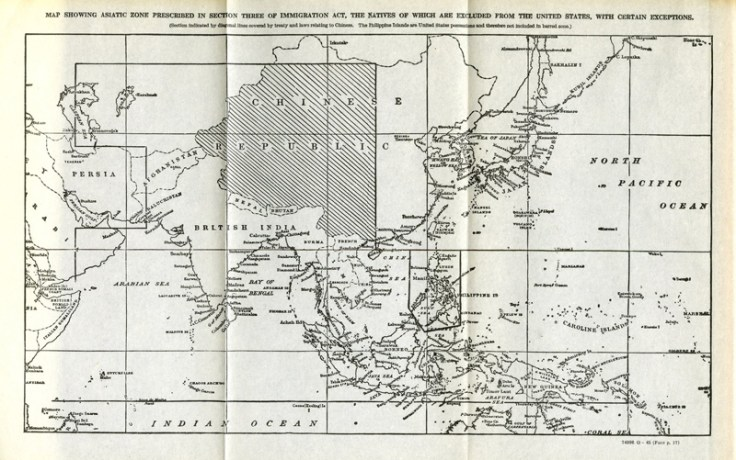 immigration act of 1917 map showing Asiatic zones