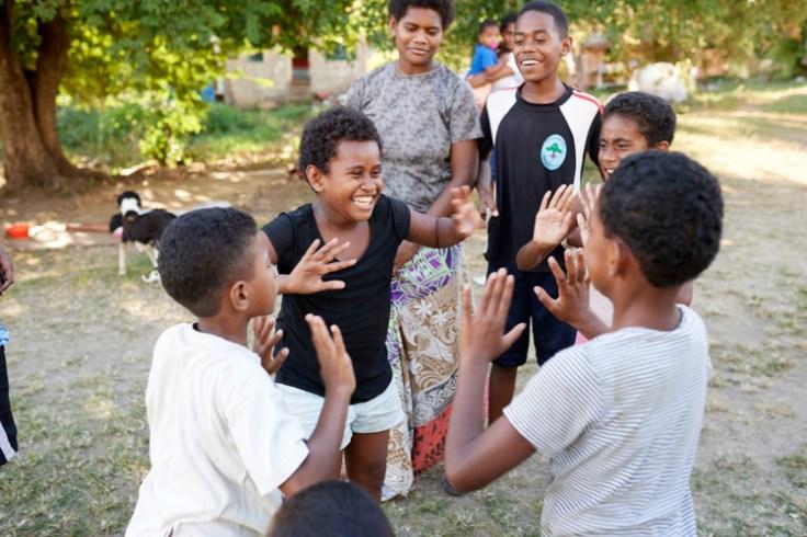 Fijian children playing outside
