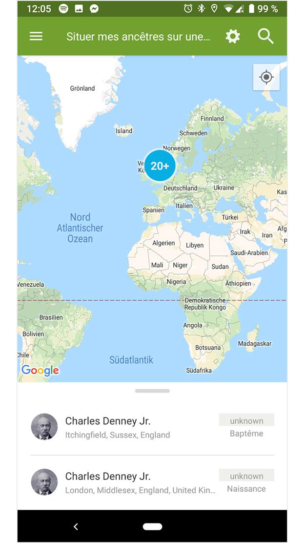 Ancêtres sur la carte du monde sur un appareil Android